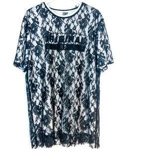 ASOS Black Lace T-Shirt Sheath Dress